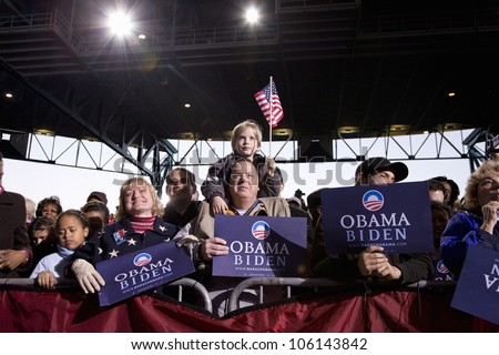 A crowd of supporters watching US Senator Barack Obama at Change We Need Presidential rally, October 30, 2008 at Verizon Wireless Virginia Beach Amphitheater in Virginia Beach, VA