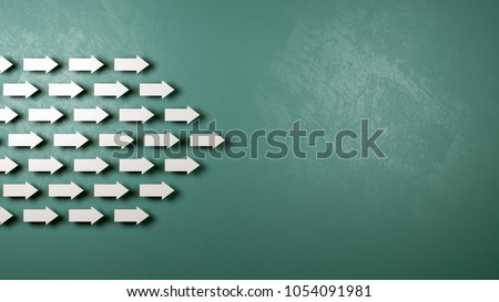 A Crowd of White Small Arrows Moving in the Same Direction with Copyspace 3D Illustration