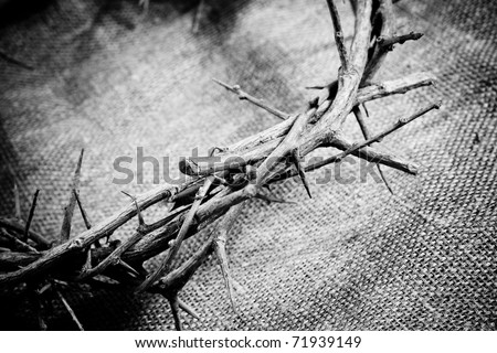 a crown of thorns on fabric background