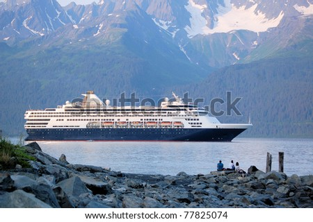 A Cruise Ship Leaving Seward Harbor at Sunset