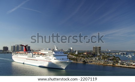 A cruiseship leaving the port of Miami
