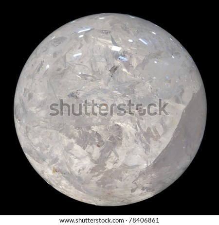 A crystal ball. Very large, polished quartz sphere, isolated on black. Diameter about 35 cm. #78406861