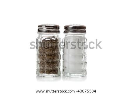 A crystal salt and pepper shaker on a white background