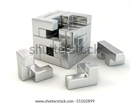 A cube built from blocks. Puzzle. 3d