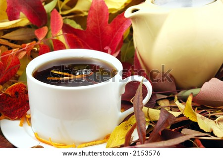 A cup and pot of hot Orange Pekoe Tea surrounded by autumn leaves