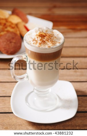 A cup of cappuccino coffee