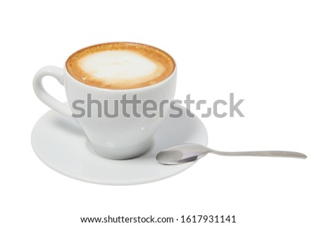 A cup of Cappuccino Latte coffee with a spoon isolated on a white background. Ready for menu