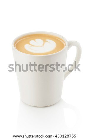 a cup of cappuccino on a white background. Cappuccino with latte art elements. Figure rosette. Suitable for design training materials for barista. Suitable for menu design in a coffee shop