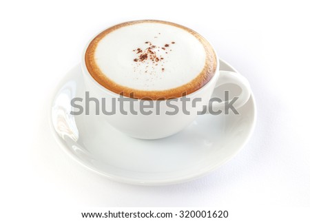 A cup of cappuccino on white background isolated #320001620