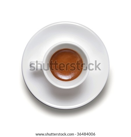 A cup of coffe espresso on white