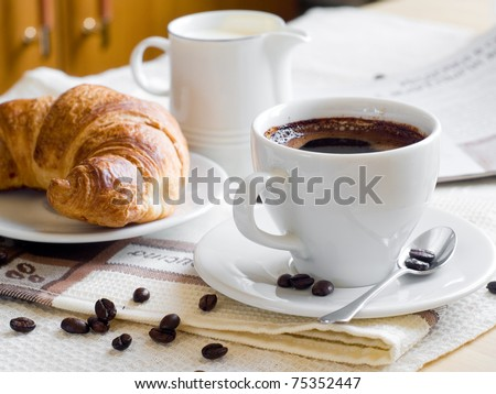 A cup of coffee and croissant for breakfast