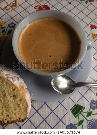 a cup of coffee and grandmas cake