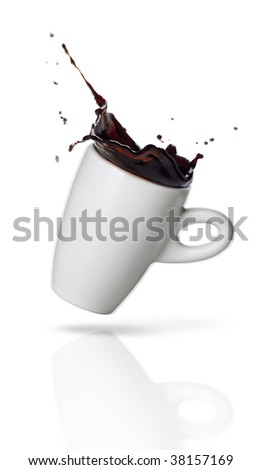 A cup of coffee full of energy on white background - Splash