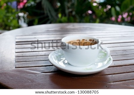 A cup of coffee on the wood table