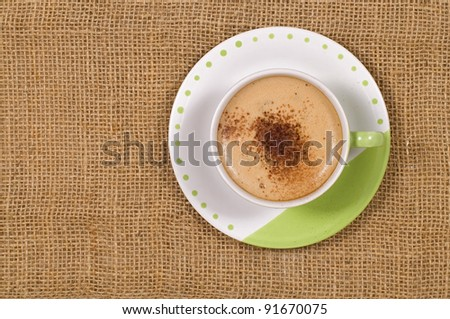 A Cup Of Coffee shot with burlap background