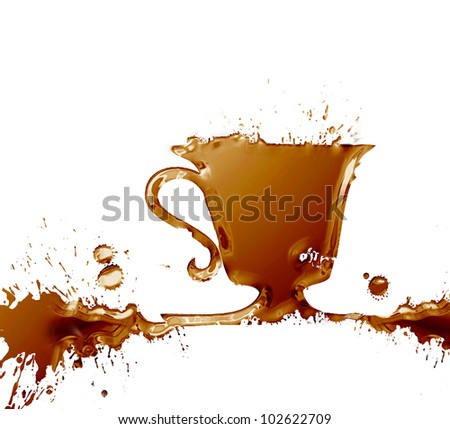 A cup of coffee splash , made from watercolor brown stains, isolated on white background