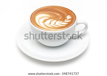 A cup of coffee white background isolated