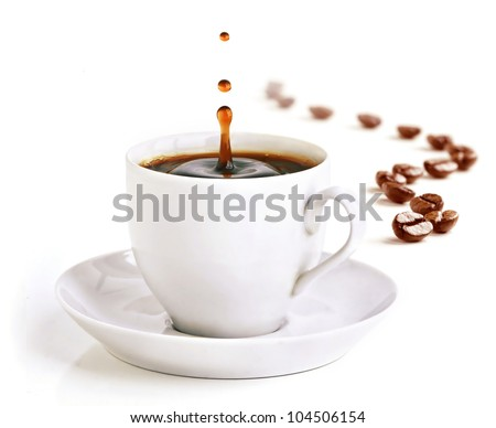 A cup of coffee with a splash of drops in the morning and coffee beans draw a zigzag line in background.