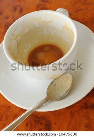 A cup of drank coffee
