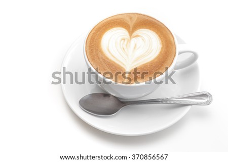 A cup of heart coffee on white background #370856567