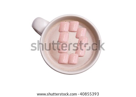 "A cup of hot chocolate with the marshmallows in the shape of an ""D""."