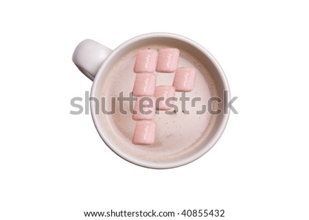 "A cup of hot chocolate with the marshmallows in the shape of an ""P""."