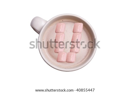 """A cup of hot chocolate with the marshmallows in the shape of an """"U""""."""