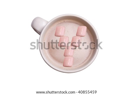 "A cup of hot chocolate with the marshmallows in the shape of an ""Y""."