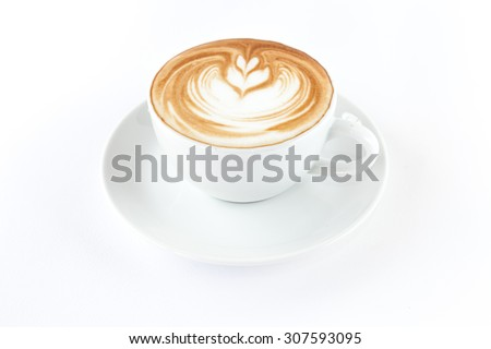 A cup of hot coffee on white background isolated #307593095