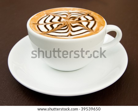 a cup of latte-art hot coffee mocca latte