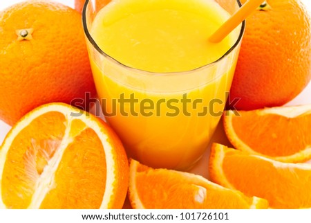 a cup of orange juice and fresh orange as a background