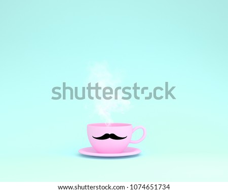 A cup of pink coffee with a floating vapor on blue background. minimal concept idea. Happy Fathers Day, is a celebration honoring fathers and celebrating fatherhood, paternal bonds. #1074651734