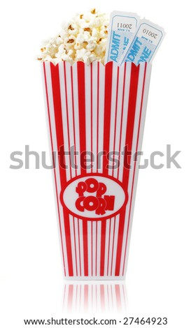 A cup of popcorn and two movie tickets, isolated on a white background.