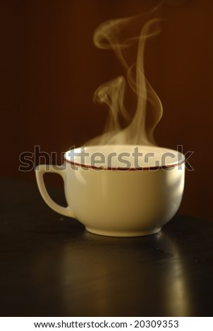 A cup of steaming hot tea