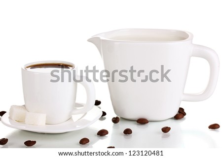 A cup of strong coffee and sweet cream isolated on white