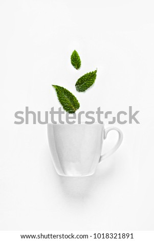 A cup of tea with mint on a white background. Concept: tea aroma