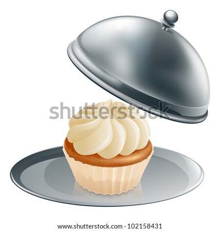 A cupcake or muffin on a silver platter, concept could be for gourmet baking or a special treat during a diet.