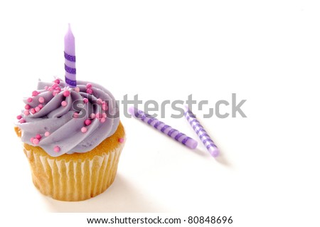 A cupcake with a birthday candle