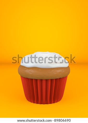A cupcake with flavored topping over an orange background