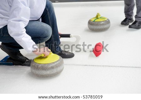 A curler starts launch a stone