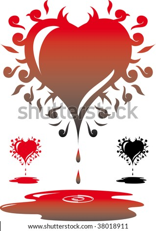 stock photo : A curly bleeding heart that can also be used as a tattoo.