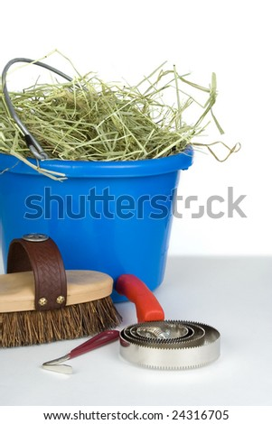 A curry comb, brush and hoof pick in front of a bucket of hay.