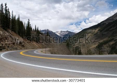 A curve in a highway through the mountains, Silverton, Colorado