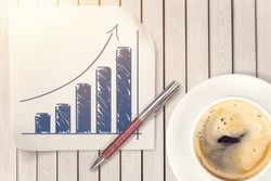 A curve or normal distribution graph on a white napkin with a cup of coffee.
