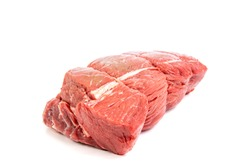 A cut of beef sirloin tip roast isolated on white
