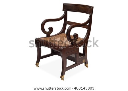A Cut Out Of An Antique Wooden Armchair With Rattan Wicker Seat.