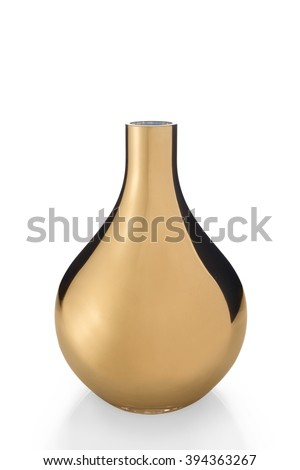 A cut-out of an empty, shiny, golden bulb vase, #394363267