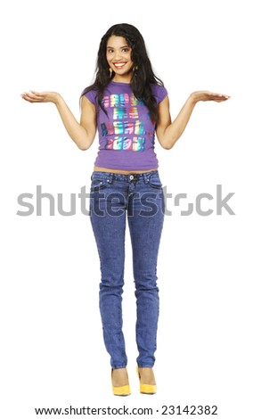 A cute African American woman, holding her hands out as if balancing or weighing something.