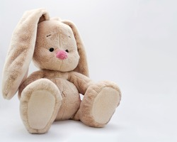 a cute baby soft toy bunny sitting on a light background