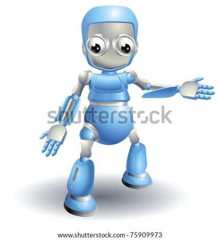 A cute blue robot character showing the viewer something with a hand gesture